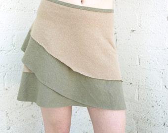 Opal ~ Layered Short Wrap Skirt ~ Hemp & Organic Cotton ~ Made to Order