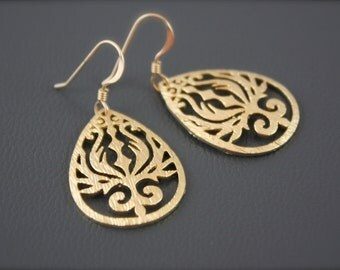 Filigree Gold Earrings,Teardrop Earrings,Ornated Teardrop Earrings,Plain Gold Earrings,Neutral Earrings,Floral Teardrop Earrings,Delicate