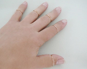 14 kt Gold Filled Ring, 1 stacking skinnies ring thin skinny stacker minimal midi knuckle ring