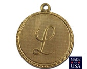 Raw Brass Letter L Initial Charm Drop with Loop (1) chr190L