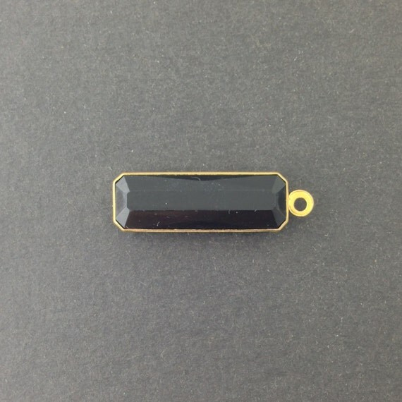 1 Loop Vintage Black Acrylic Faceted Channel Set Rectangle Drops 8x25mm (6) chr068G