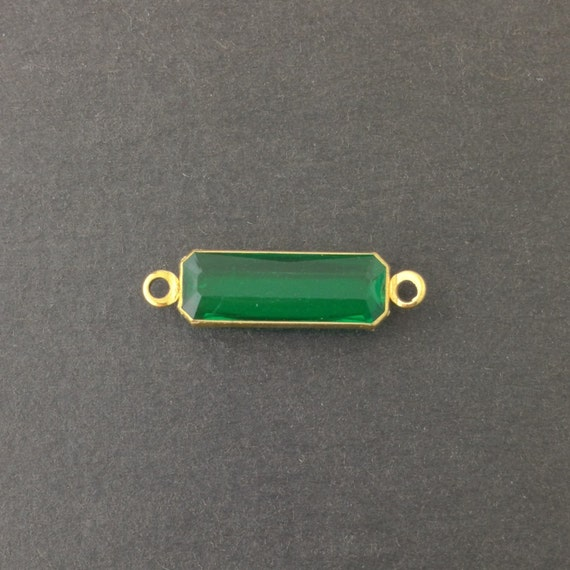 2 Loop Vintage Emerald Acrylic Faceted Channel Set Rectangle Drops 7x19mm (6) chr068E