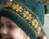 Hand-knit wool hat and mitten set -- emerald green and mustard yellow in Scandinavian design