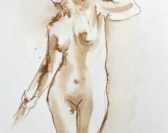Original Ink Figure Drawing - Standing Female Figure