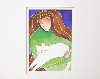 Cat Lady & White Kitty/ Original Watercolor Painting by Susan Faye