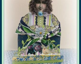 Gail Handmade Mixed Media Victorian Collage Art Doll
