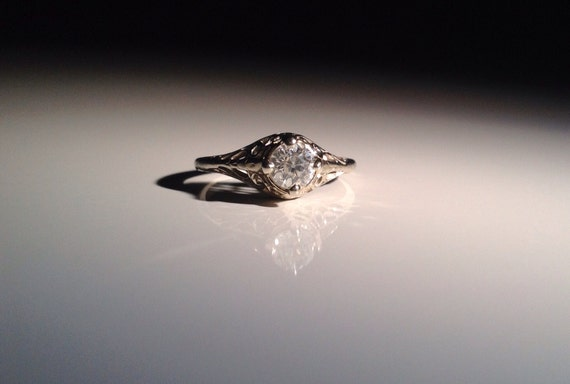 1905 18 KT White Gold 1/2 Ct Diamond Solitaire Engagement Ring Antique Size 6