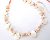 Freshwater Pearl Coral Necklace, Mother of Pearl Shell, One of a Kind Necklace in Sterling Silver