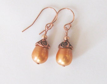 Pumpkin Orange Freshwater Pearl Earrings, Rose Gold Filled, Autumn Fall Earrings