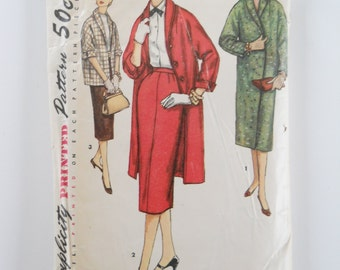 Mid Century Vintage Coat Pattern •  Ladies Jacket Simplicity Pattern 1955