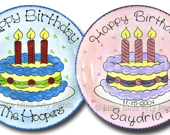 11 inch Personalized Birthday Plate - Whimsical Birthday Cake