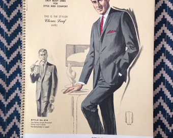 Summer Sale- vintage 1964 Mens Fashion Illustration 9  - large size lithograph