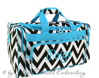 Personalized Duffle Bag Chevron Black Blue Ballet Dance Travel