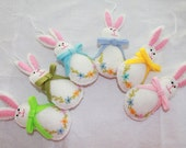 Felt Easter Hanging Ornament  Easter bunny with pastel color bow