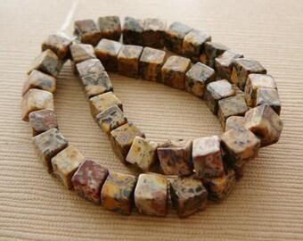 Gemstone Beads, Jasper Cubes, 4mm Brown Beige Rust half strand