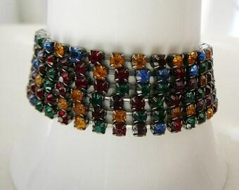 Vintage .. 1 Czech Rhinestone Bracelet Red Blue Green Yellow Layering bracelet vintage wedding