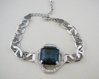 Vintage .. Czech Rhinestone Silvertone Bracelet Sapphire Blue Vintage Jewelry