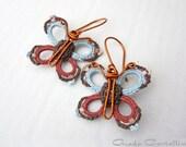 RESERVED for R. - Earrings, butterfly, crochet, 100% Vegan, cotton, light pastel blue, aqua, cinnamon, brown, cream, enamel copper, spring