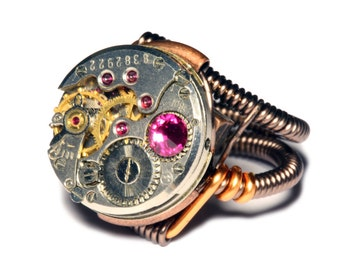 Steampunk Jewelry - Watch Movement Steampunk Ring with fuchsia crystal by Catherinette Rings