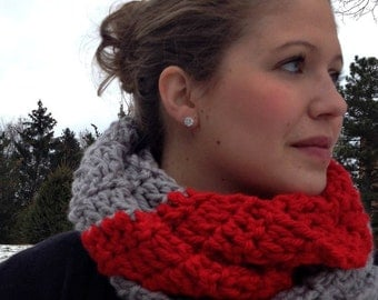 Grey and Red Scarlet Chunky Infinity Circle Scarf