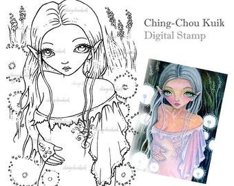 Dandelions Glow - Digital Stamp Instant Download / Fantasy Art by Ching-Chou Kuik