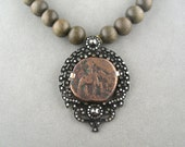 ancient indian coin necklace rose cut white diamond