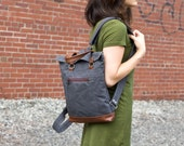 Backpack Mini in Gray Canvas and Chestnut Brown Leather Trim - Travel Bike Bag - Canvas Backpack - Made to Order