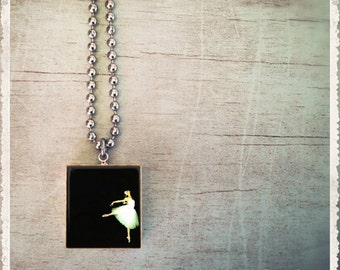 Scrabble Art Pendant Necklace - Classic Tiny Dancer - Scrabble Game Tile Jewelry - Customize