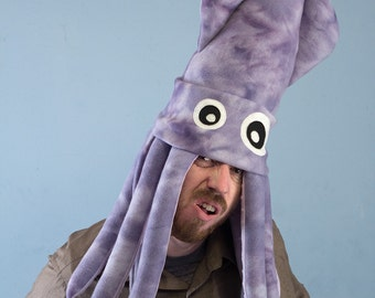 Large Fleece Squid Hat - Purple Tie-Dye