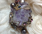 Lilygrace Amethyst Crystal Chunk Ring with  Brass Wire with Vintage Rhinestones and Freshwater Pearls