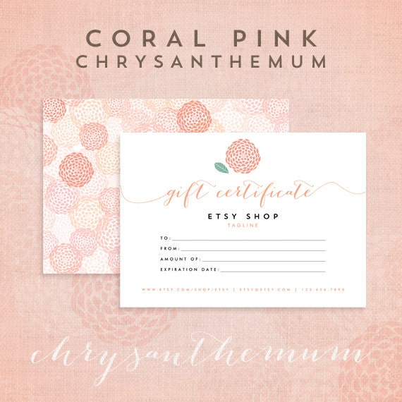 printable gift certificate template chrysanthemum coral pink