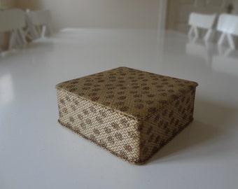 Vintage Padded Fabric Covered Square Hankie Box - EnglishPreserves