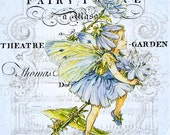 Blue FAIRY place printable digital image download vintage Fairies Buy 3 Get one Free