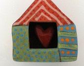 Folk Art Home is where my heart is/ Ceramic wall sculpture