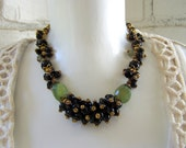 Black and gold necklace, chunky necklace, cluster necklace, beaded necklace, stone necklace, gold necklace, bead necklace, etsy necklaces