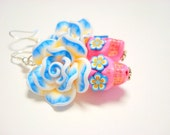 Pink, Blue and Yellow Day of the Dead Roses and Sugar Skull Earrings