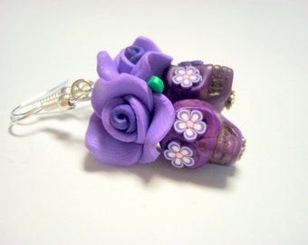 More Purple Please Day of the Dead Roses and Sugar Skull Earrings