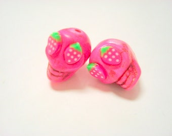 Pink Strawberry Eyes in Day of The Dead Sugar Skull Beads-13mm