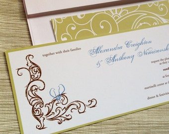 Sketchy Scrolls and Lovebirds Wedding Invitations in Blue Green Brown - SAMPLE