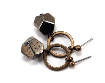 pyrite nugget post earrings