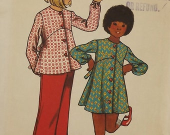 Vintage 70's Sewing Pattern, Girls' Dress, Top and Pants, Size 8