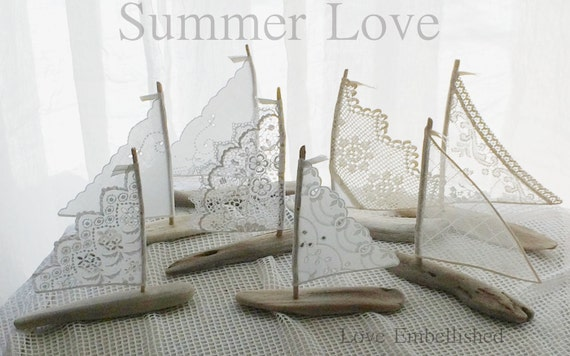 One 7 to 7.75 inches Tall Driftwood Sailboat Beach Decor Antique Lace Or Linen Sails Sailing Inspired Romance Beachside Lakeside Wedding