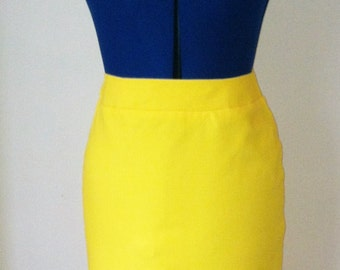 handmade yellow pencil skirt. Limited sizes left in stock.
