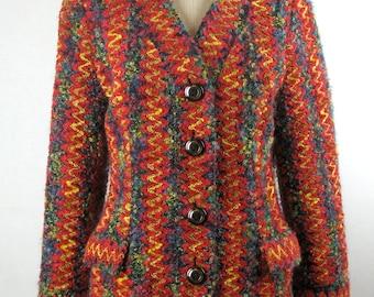 Vintage 80s Hanae Mori Jacket in a Raschel Knit Zigzag Weave