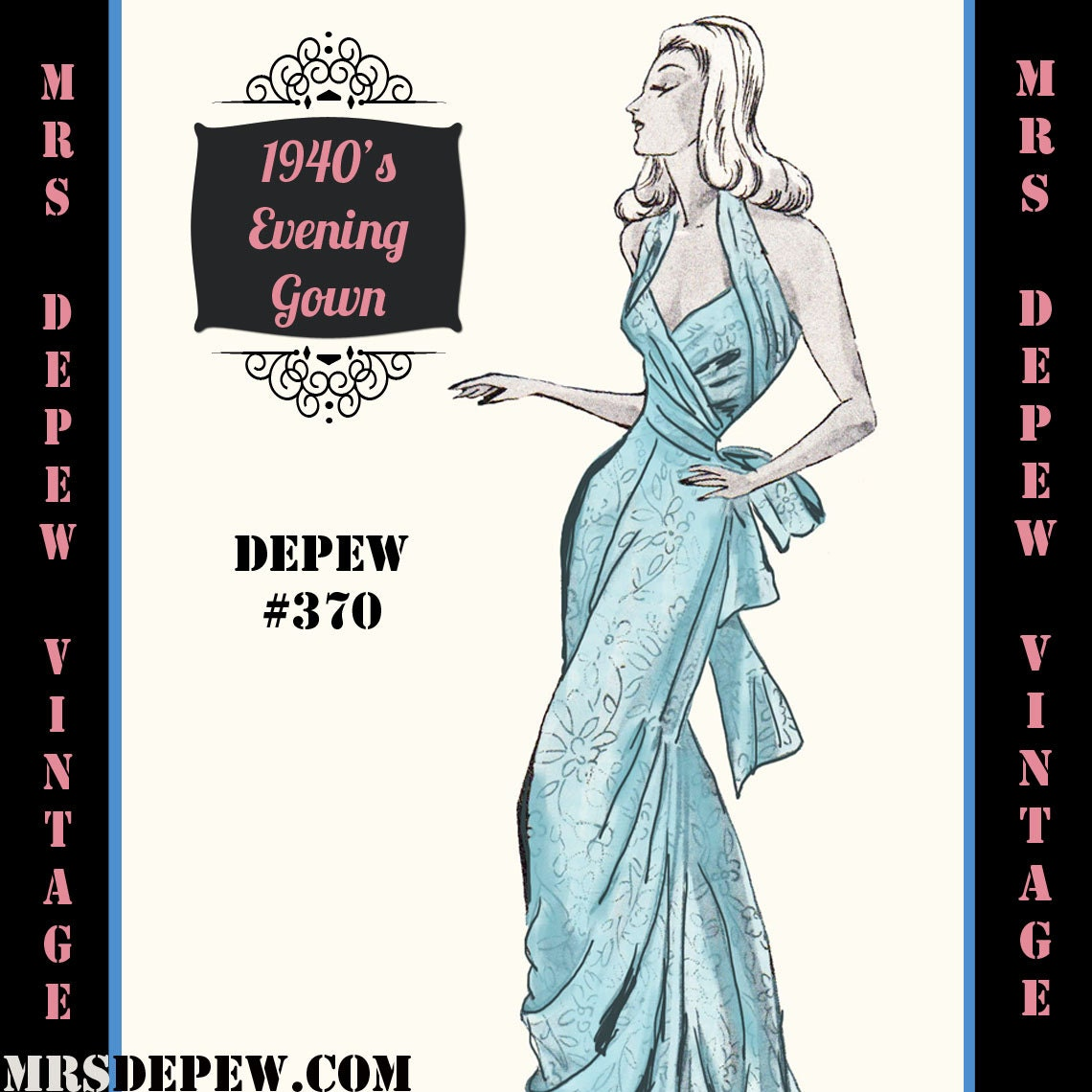 Vintage sewing pattern 1940 39 s backless evening or wedding for 1940s wedding dress patterns