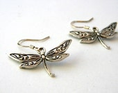 Pretty Dragonfly Earrings Silver Color Dangle Earrings