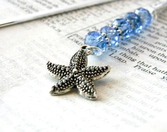 Starfish Bookmark with Light Blue Glass Beads Shepherd Hook Silver Color Steel Bookmark