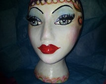 Chic Hand Painted Mannequin Head for Wigs, Hats, Glasses or Decorative