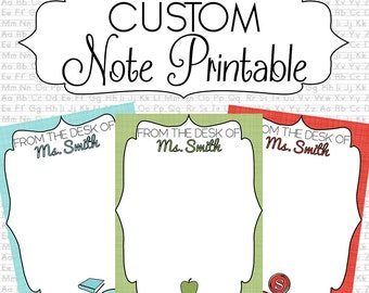 Personalized Stationary Note Printables - From The Desk Of Custom Notes - Teacher Gift - Digital File Only