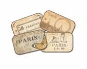 Autumn Paris Gift Tags, Paris Butterfly Tag, Trapeze Paris Circus Tag, Autumn Bridal Shower Gifts, Brown Tone Parisian Gift Tags, Paris